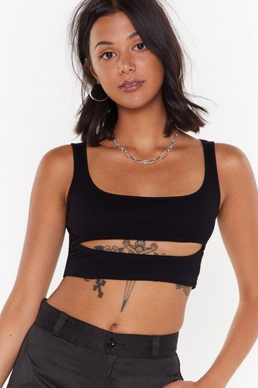Black Cut Out Ribbed Crop Top with Scoop Neckline