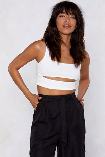 White Cut Out Ribbed Crop Top with Scoop Neckline