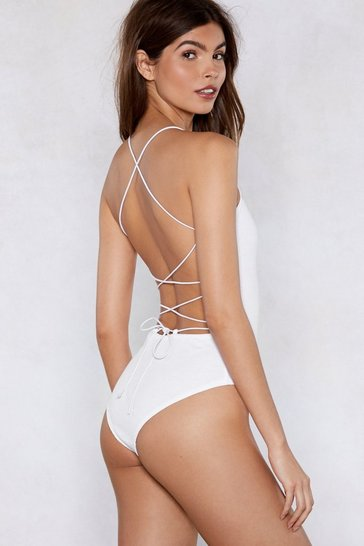 Womens White Back In Business Strappy Bodysuit