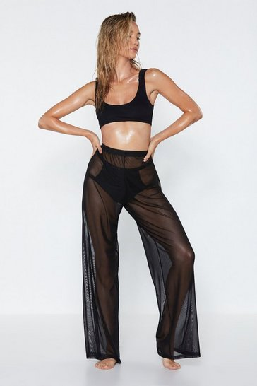 Womens Black Plain Sailing Sheer Cover-Up Pants