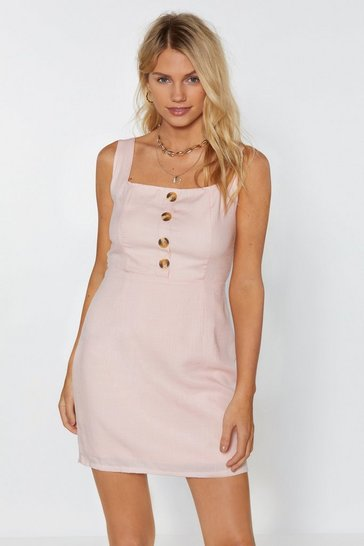 Womens Nude Button the Run Mini Dress
