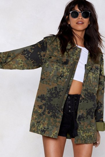 Womens Khaki Now You See Me Camo Jacket