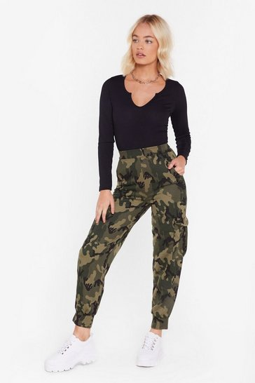 Khaki March On Camo High-Waisted Joggers