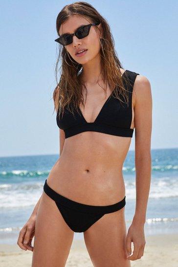 Black Close Call Ribbed Bikini Set
