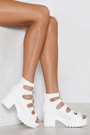 White Open Toe Lace Up Heeled Sandals