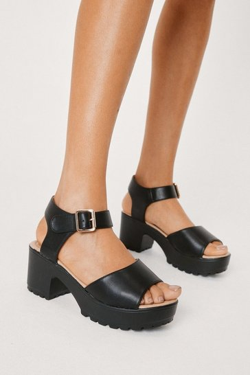 Womens Black Aces High Faux Leather Sandal