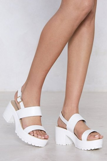White Faux Leather Platform with Ankle Strap