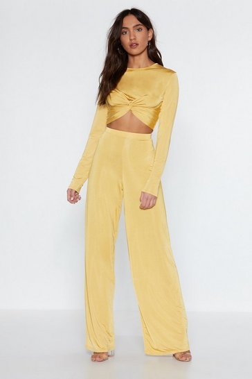 Gold Atomic Crop Top and Wide-Leg Pants