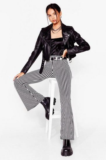 Black Living On a Thin Line Flare Pants
