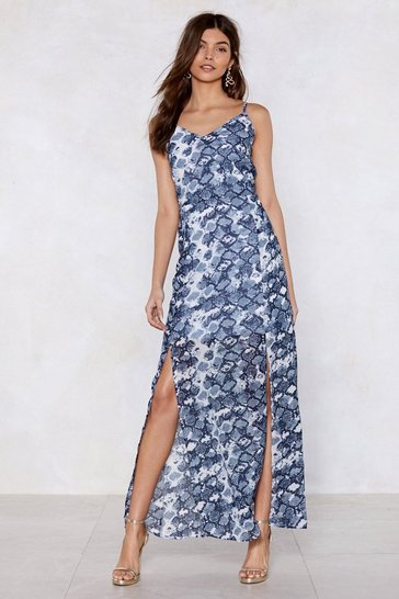 Womens Blue Snake Two Maxi Dress