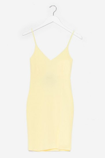Lemon Black Midi Bodycon Dress with V-Neckline