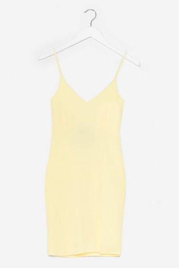 Lemon Black Midi Bodycon Dress with V-Neckline
