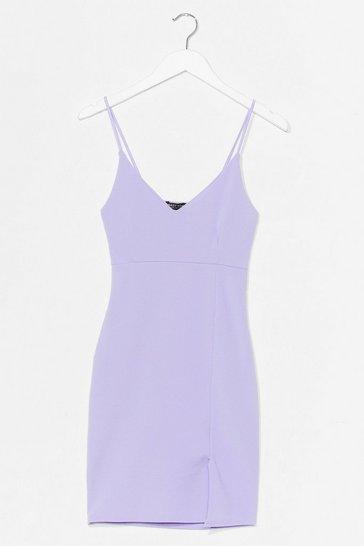 Lilac Black Midi Bodycon Dress with V-Neckline