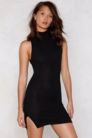 Womens Black Good Times on Rib-Peat Mini Dress