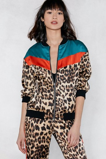 Brown Can't Fight This Feline Leopard Bomber Jacket