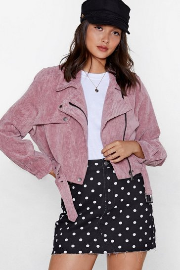 Womens Pink Before You Act Corduroy Moto Jacket