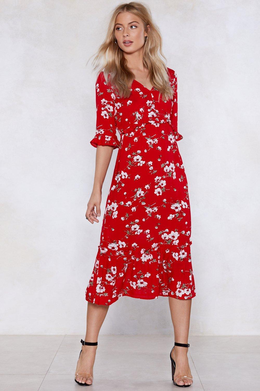 Red Flower Midi Dress Off 50 Www Abrafiltros Org Br
