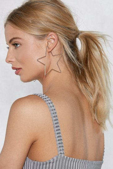 Silver Oversized Star Earrings