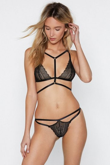 Womens Black Dance For You Strappy Bralette and Thong Set