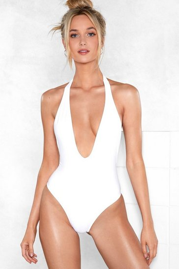 Womens White Take the Plunge Halter Swimsuit
