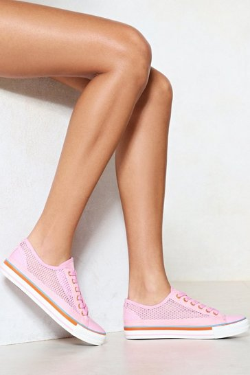 Womens Pink Net Over It Faux Leather Trainers