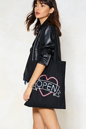 Black Open Up Neon Sign Tote Bag