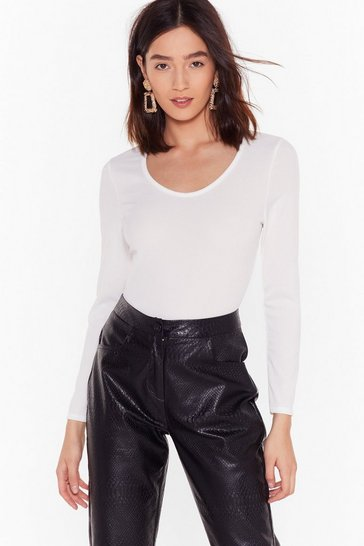 Scoop Neckline White Bodysuit with Long Sleeves