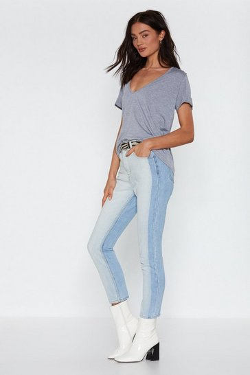 Womens Blue Two Can Play At That Game Two-Tone Jeans