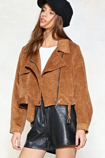 Play the Right Cords Moto Jacket, Camel