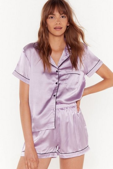 Womens Lilac Satin Chilling Out Pajama Set