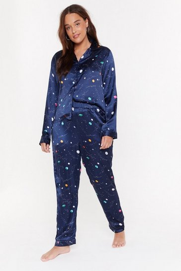 Womens Navy Supersonic Rocket Ship Pyjama Top and Trousers Set