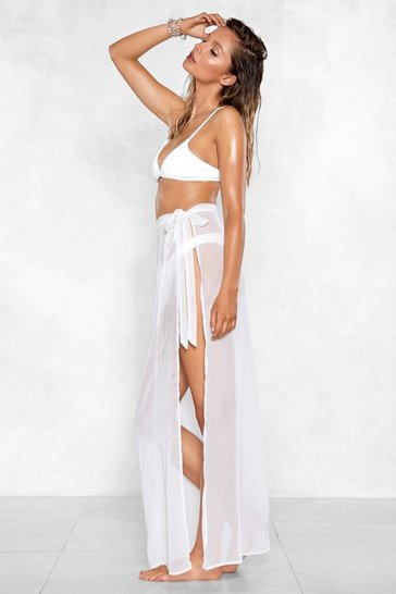 Womens White How the Years Tie By Sarong Skirt