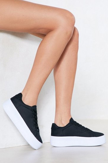 Black Platform Sole Sneaker with Lace-up Closure at Front