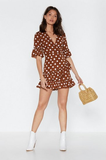 Womens Tan You Dot This Polka Dot Dress