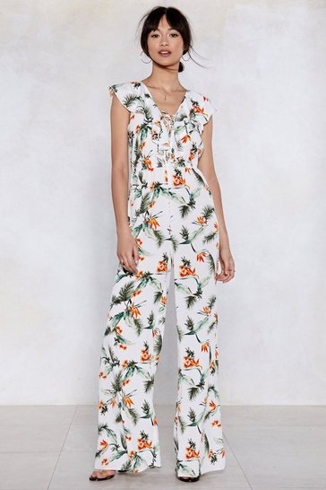 Womens White Plant Touch This Palm Jumpsuit