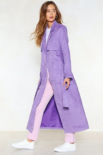 Purple Go Back a Long Way Faux Suede Trench Coat