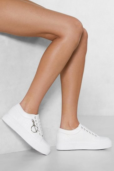 Womens White O-Ring True Faux Leather Sneaker