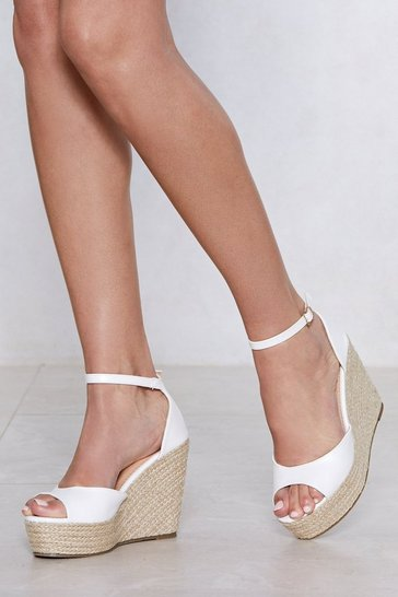 Womens White Sunny Afternoon Espadrille Wedge Sandal