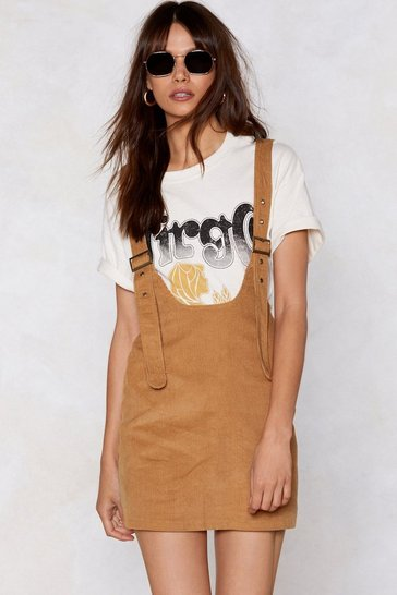 Womens Tan Pin Me Down Cord Pinafore Dress