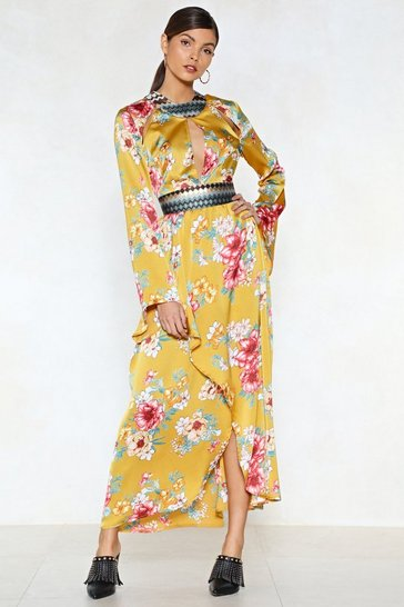 Womens Gold The Flower of Goodbye Maxi Dress