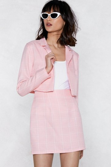Womens Pink Crop in Babe Grid Blazer
