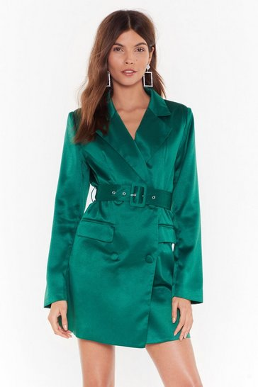 Green Satin Blazer Dress with V-Neckline