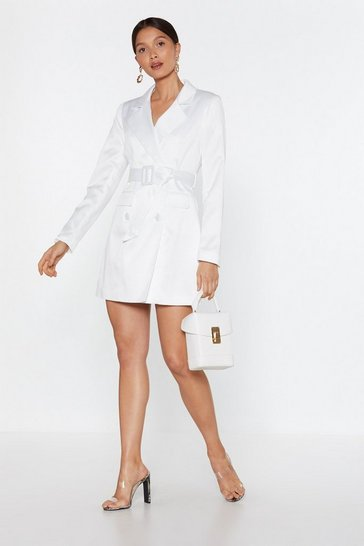 White Taking Care of Business Satin Blazer Dress