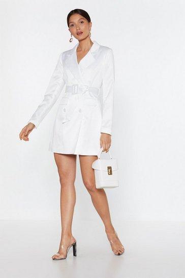 White Satin Blazer Dress with V-Neckline