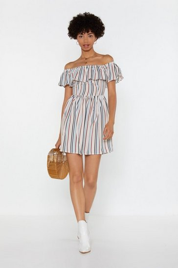 Womens Ivory Give 'Em the Shoulder Striped Dress