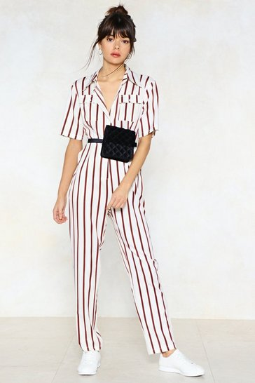 Cream You're Just My Stripe Utility Jumpsuit