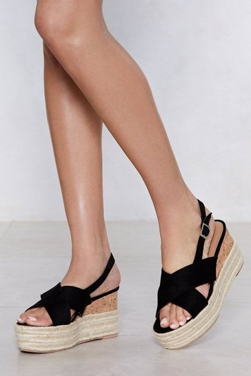 Womens Black Up the Ante Platform Sandal