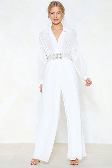 White Jump to It Wide-Leg Jumpsuit