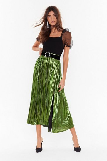 Womens Green The Pleat is On Metallic Skirt