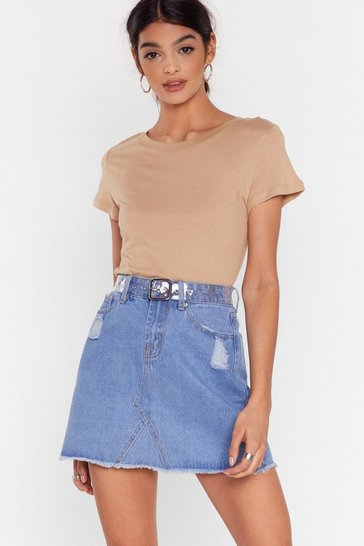 Womens Blue My Kind of Trouble is You Denim Skirt